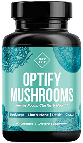 New! OPTIFY Mushroom Supplement - Lions Mane, Cordyceps, Reishi & Chaga Capsules - Nootropic Brain Supplement & Immune System Booster for Natural Energy, Stress Relief, Focus, Memory, Wellness