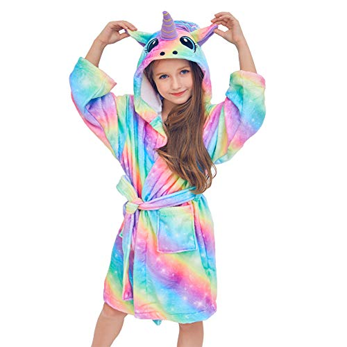 QtGirl Unicorn Kids Robe, Girls Bathrobe Fleece Sleepwear Hooded Sleep Robe for Girl Party Rainbow -