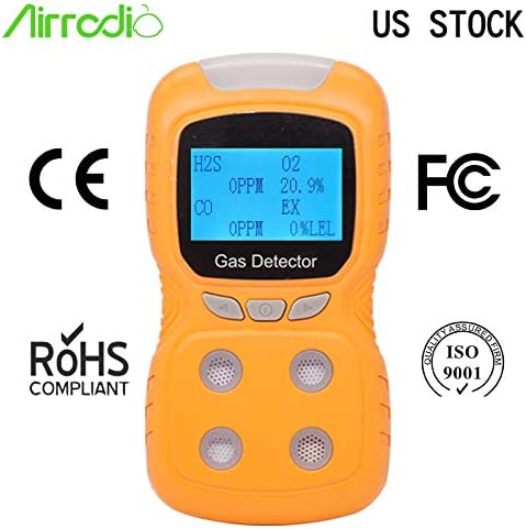 AirRadio Portable Gas Detector 4 in 1, Multi Gas Clip 4-Gas Monitor Meter Tester, Rechargeable LCD Display Sound Light Shock Air Quality Tester, 2-Year Detector in Lab Gas Handling Instruments