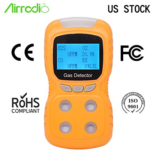 AirRadio Portable Gas Detector, Gas Clip 4-Gas Monitor Meter Tester Analyzer, Rechargeable LCD Display Sound Light Shock Air Quality Tester, 2-Year Detector in Lab Gas Handling Instruments by AirRadio