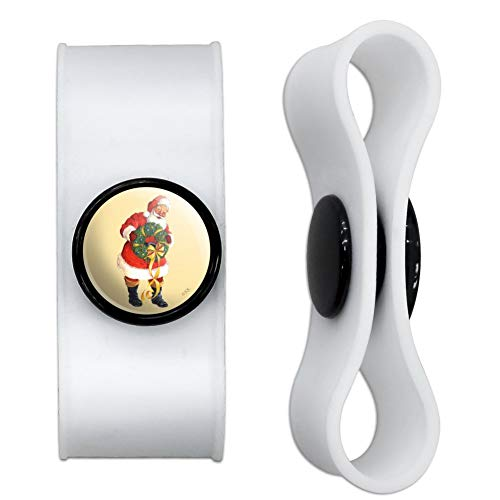 GRAPHICS & MORE Christmas Holiday Santa Holding Wreath Headphone Earbud Cord Wrap - Charging Cable Manager - Wire Organizer Set of 2 - White