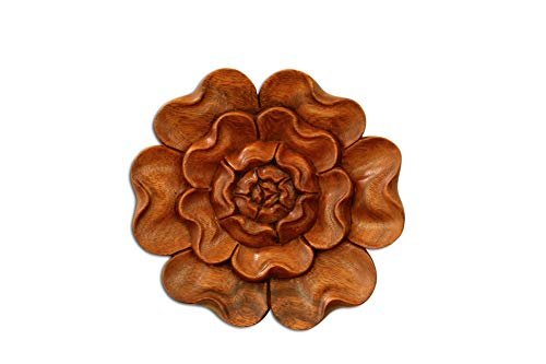 (G6 Collection Wooden Hand Carved Wall Art Relief Panel Handcrafted Wall Plaque Gift Decorative Home Decor Accent Handmade Wood Decoration Rustic Artwork Floral (Lotus Flower) )