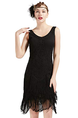 BABEYOND 1920s Flapper Dress Roaring 20s Great Gatsby Costume Dress Fringed Embellished Dress (Black, M) -