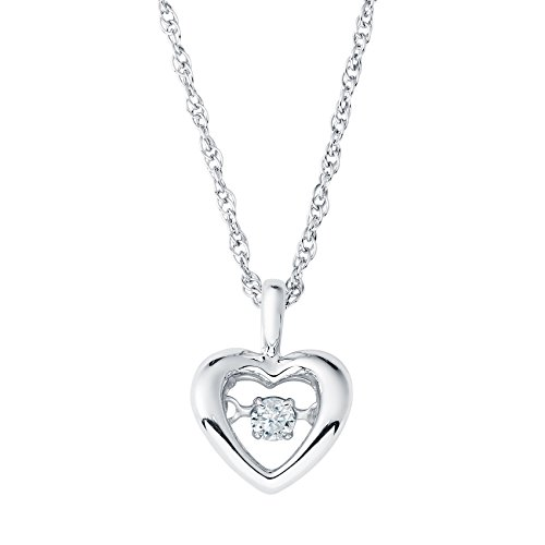 Diamond Floating Heart Necklace - Boston Bay Diamonds 925 Sterling Silver Dancing Diamond Dainty Heart Pendant Necklace, 18