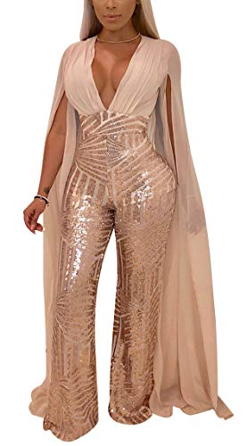 (Speedle Women Sexy Deep V Angel Wings Sequin Glitter Tulle Backless Evening Party Playsuit Apricot)