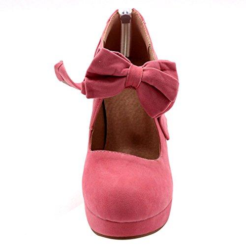 Enmayer Kvinna Mode Knop Höga Klackar Plattformen Pumpar Mary Janes Rosa # Zip