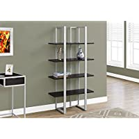 Monarch I 7239 Bookcase-60 H Silver Metal, Cappuccino