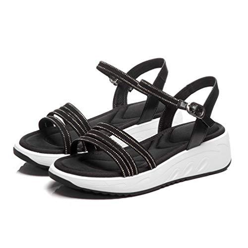 Women Slingback Sandals Summer Sexy Woman Platform Crystal Ladies Rhinestone Buckle Strap Wedge Shoes in Black Beige