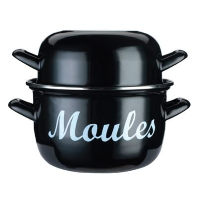 Large Two Part Enamel Pot for Cooking & Serving Mussels