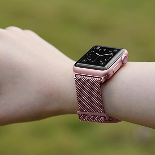 BRG Compatible Apple Watch Band 42mm, Stainless Steel Mesh Milanese Loop Adjustable Magnetic Closure Replacement iWatch Band Compatible Apple Watch Series 3 2 1 (42mm Rose Gold) by BRG (Image #4)