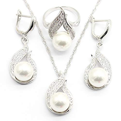 - Aixili White Freshwater Pearl Silver Plated Jewelry Set for Women Necklace Pendant Earring Rings (7)