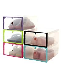 Mapletop Foldable Shoe Storage Box Stackable Clear Plastic Drawer Case Organizer Holder