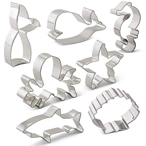 LILIAO Under the Sea Cookie Cutters Set Shark Whale Biscuit and Fondant Cutters - 7 Piece - Shark, Whale, Mermaid Tail (Whale Tail), Seahorse, Seashell, Octopus and Starfish - Stainless Steel