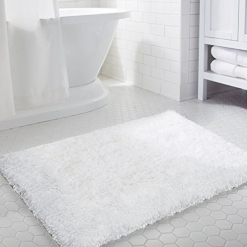 LOCHAS Soft Shaggy Bath Mat Non-slip Rubber Bathroom Rug White Floor Mats Water Absorbent, 35.4 x 23.6inch by LOCHAS