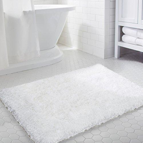 LOCHAS Soft Shaggy Bath Mat Non-slip Rubber Bathroom Rug White Floor Mats Water Absorbent, 35.4 x 23.6inch by LOCHAS
