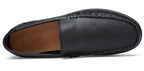 Tda Mens Casual Slip-on In Pelle Traspirante Walking Hiking Penny Mocassini Driving Shoes Nero