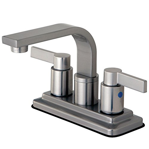 - Kingston Brass KB8468NDL Nuvofusion Euro High Rise Spt Lavatory Faucet with Push Up Pop-Up Satin Nickel