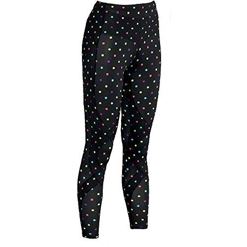 (CW-X Women's Stabilyx Tights, Print, Medium Black/Colorful Polka Dots)