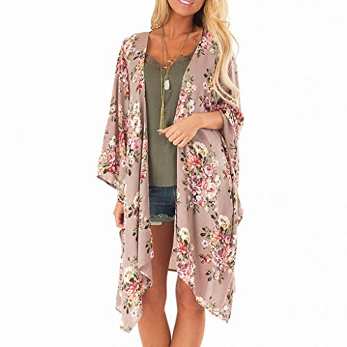 Witspace Fashion Womens Ladies Maple Floral Print Cardigan Long Blouse Loose Tops Outwear