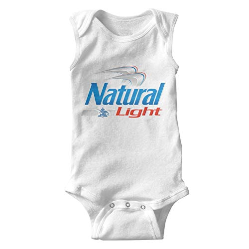 Just Hiker Baby Girl Comfortable Sleeveless Onesies Natural-Light-Beer-Logo- Cool Playsuit White (Logo Light Natural)