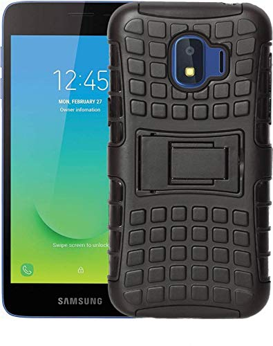 Shining StarsTM Samsung Galaxy J2 Core Stylish Defender Hybrid Armor Back Cover with Kick Stand and All Corner Protection and Shockproof (Black)