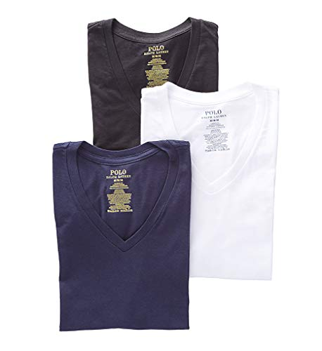 Polo Ralph Lauren Men's Classic Fit w/Wicking 3-Pack V-Necks Cruise Navy/White/Black X-Large