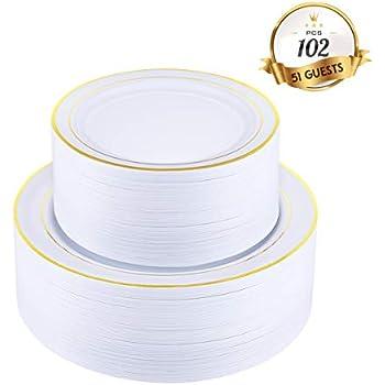 Disposable Plastic Plates Set 4 colors Salad//Dessert or Dinner Plates 30-60 pc