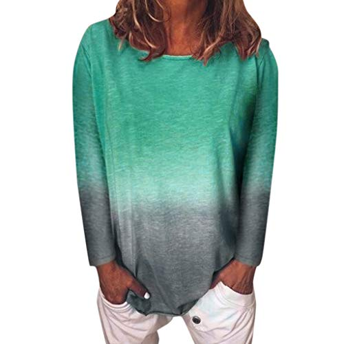 ANJUNIE Women's Gradient Color Long Sleeve T-Shirt Tunic Blouse Comfy Casual Tops(Light Green,XL) (La Suit Outlet 3 Mens Suits $100)
