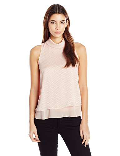 Ellen Tracy Women's Size Double Layer High Neck Shell, Champagne, Petite M