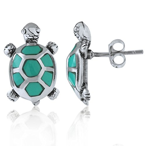 - Created Green Turquoise 925 Sterling Silver TURTLE Post Earrings