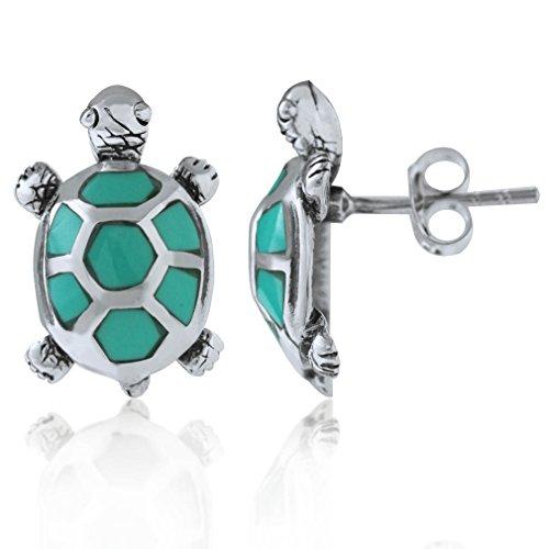 - Silvershake Created Green Turquoise 925 Sterling Silver Turtle Post Earrings