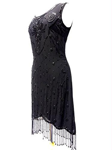 Ladies 1920de estilo vintage Charleston Flapper Gatsby Abbey Fringe con cuentas Lentejuelas Vestido De Cambio negro