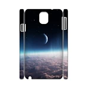 3D Samsung Galaxy Note 3 Case,Crescentic Moon Over Thick Atmosphere Clouds Hard Shell Back Case for White Samsung Galaxy Note 3