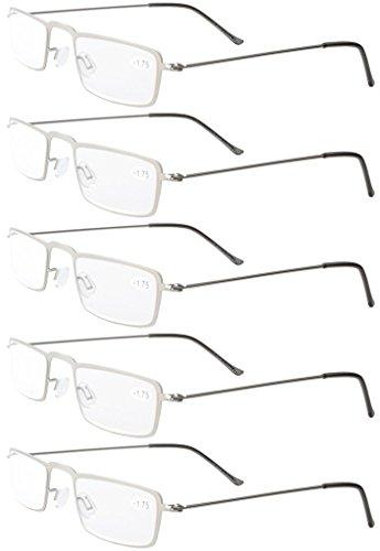 (Eyekepper 5-Pack Stainless Steel Frame Half-eye Style Reading Glasses Readers Silver +2.0)