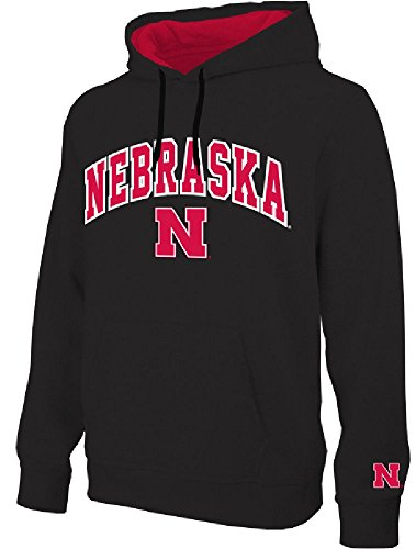 NCAA Nebraska Cornhuskers Black Embroidered College Classic Hoodie Sweatshirt ()