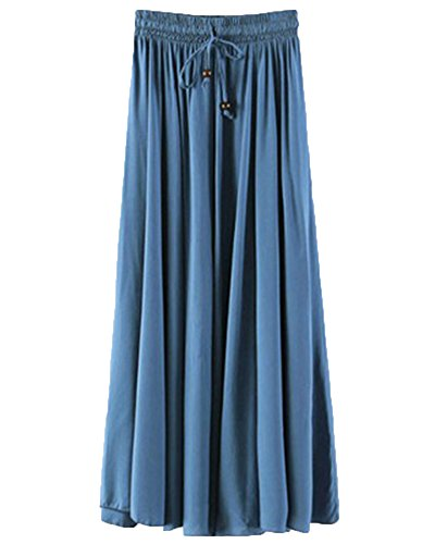 ZhuiKunA Jupe Femme Taille lastique Cordon Couleur Pure Vintage Mi Longue Plisse Bleu 1