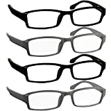 Reading Glasses 1.75 2 Flat Black 2 Flat Gray Readers for Men and Women Stylish Look and Crystal Clear Vision When You Need It! Comfort Spring Arms & Dura-Tight Screws