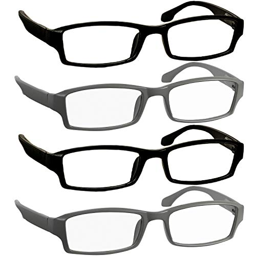 Reading Glasses 1.75 2 Flat Black 2 Flat Gray Readers for Men and Women Stylish Look and Crystal Clear Vision When You Need It! Comfort Spring Arms & Dura-Tight ()