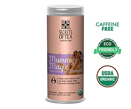 Secrets of Tea - Mummy Magic Weight Loss - Certified USDA Organic Herbal Tea for Metabolism Boosting, Improved Digestion and Detoxification w/Increased Energy Levels - (Cinnamon) (20 Servings)