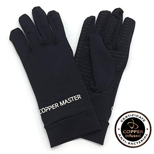 HIGHCAMP Arthritis Gloves Women- Copper Gloves Men- Compression Gloves Recovery & Relieve for Arthritis, RSI, Carpal Tunnel, Swollen Hands, Tendonitis, Everyday Support & More- Full Finger/Black L