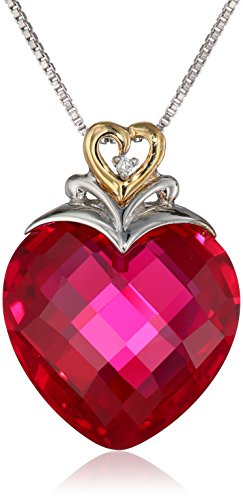 Ruby Heart and Diamond-Accent Pendant Necklace Sterling Silver and 14k Yellow Gold