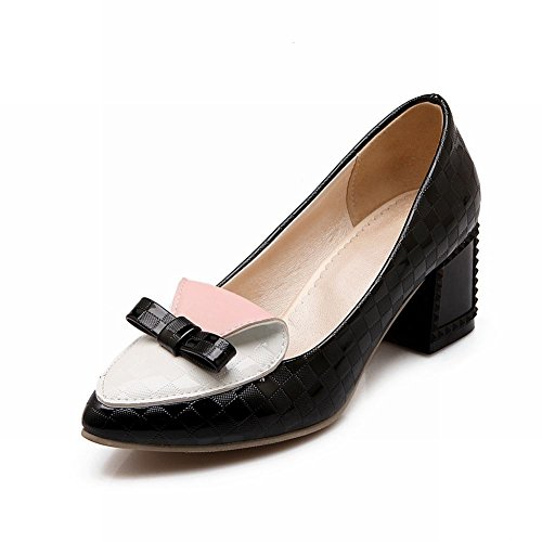 Carol Chaussures Elegance Femmes Bowknots Couleurs Assorties Damier Pompes Robe Chaussures Noires