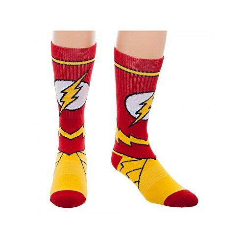 Super Hero DC Comics The Flash Suit Up Crew Socks By Superheroes