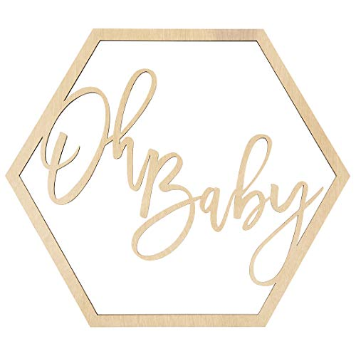 Koyal Wholesale Wood Party Sign, 16.9-Inch Oh Baby, Baby Shower Display, Party Banner, Event Decorations for Gender Reveal, Baby Shower, Baby Announcements -