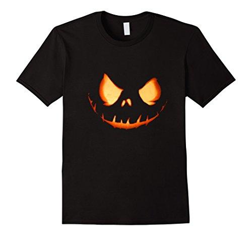 Mens Scary Halloween Pumpkin Head Shirt Lantern Costume XL Black