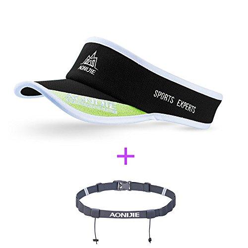 (AONIJIE Women Men Marathon Hat UV Visor Cap Ultralight Quick Dry Running Hat Summer Outdoor Sport Baseball Golf Tennis Race Number Belt(Optional),Black,with gray number belt)