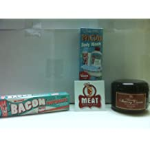 MEAT MANIAC Bacon Lovers Personal Grooming Kit Triple Sampler Gift Pack with Sticker- Bacon Toothpaste, Bacon Body Wash & Bacon Shaving Cream