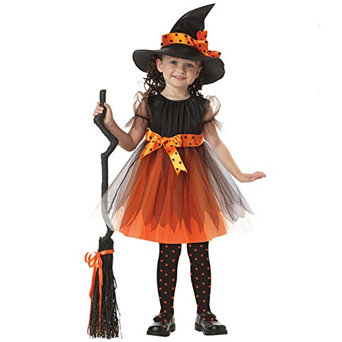 Girls Fairytale Toddler Witch Costume for Halloween,Kids Children Outfits Fancy Dress Cosplay Costumes Set Performance Clothes (for height 3.6ft)