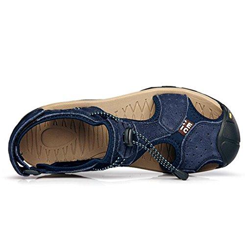 Uomo Sandali Grandi da Spiaggia Estate in Scarpe di Esterno Pelle Casual da Baotou Blue alla da Sandali Moda Scarpe Scarpe Dimensioni xFZEII