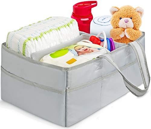 "(Baby Diaper Caddy Organizer – Portable Car Diaper Organizer, Changing Table Organizer, Boy & Girl Nursery Décor & Storage, Baby Shower Gifts – Gray Diaper Bag Tote, 15x10x7"" + Bandana Bib by Bon Bon)"